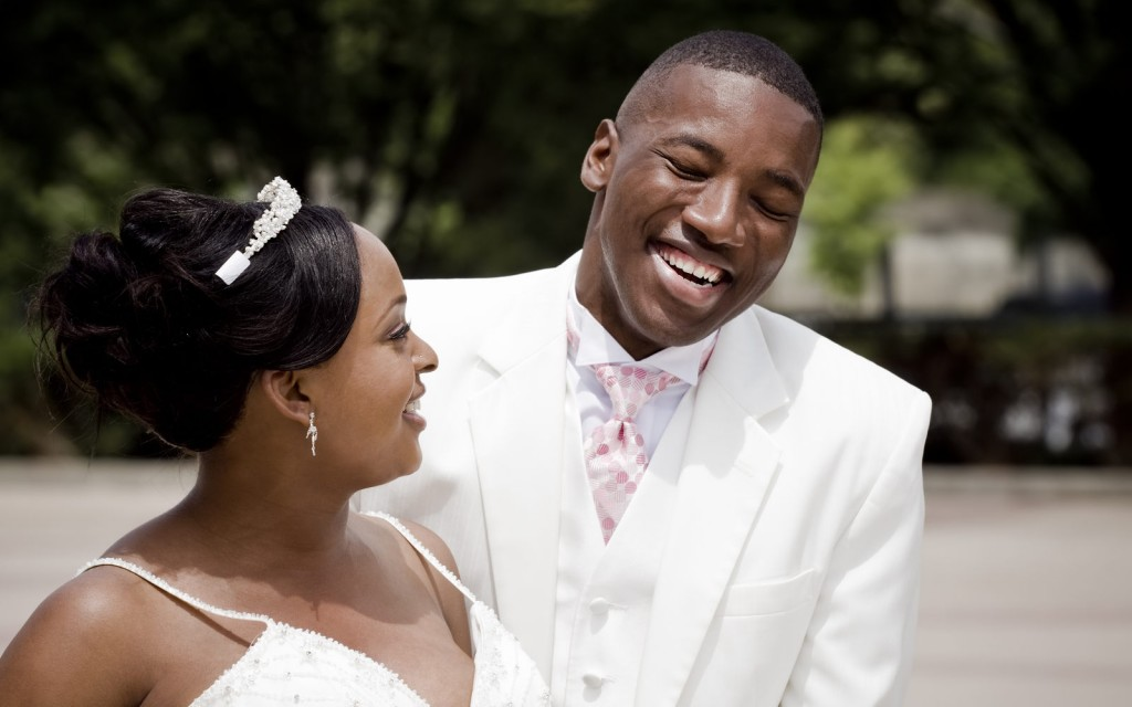 African American bride and groom laughing in Las Vegas, Nevada